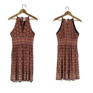 London Times Rust Print Halter Tie Dress, 6